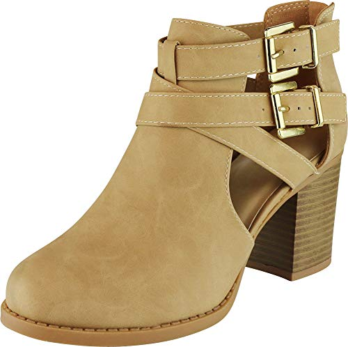 137ad9b4476 Cambridge Select Women s Side Cut Out Buckle Chunky Stacked Heel Ankle  Bootie (8 B(