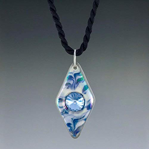 Royal navy blue hand-painted ceramic diamond shaped pendant necklace with Swarovski crystal accent.