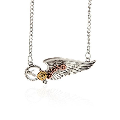 [NIANPU Vintage Angel Wings Cog Steampunk Chain Fancy Dress Necklace] (Angel Fancy Dress)