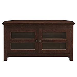 """WE Furniture Modern Farmhouse Wood Corner Universal Stand for TV's up to 50"""" Flat Screen Living Room Storage Entertainment Center, Traditional Brown"""