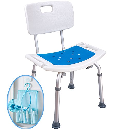 Medokare Shower Stool with Padded Seat and Back Rest - Shower Seat for Seniors with Tote Bag, Shower Bench Bath Chair, Handicap Shower Seats for Adults, Shower Stools and Benches - Back Platform Seat