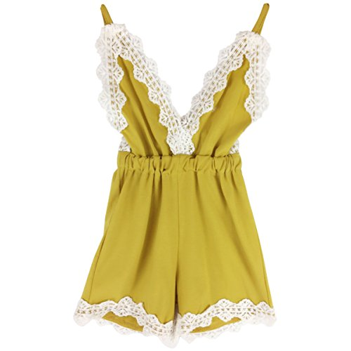 JOYEBUY Baby Girls Halter One-pieces Jumpsuit Romper Outfit Sunsuit Clothes (18-24 Months, Yellow)