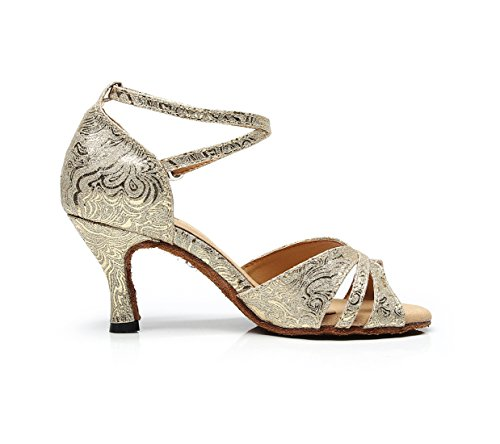 Dance Wedding Shoes Strap Ballroom Latin Ankle MINITOO UK Sandals Salsa Ladies 5 Glitter Gold 18xRvqH