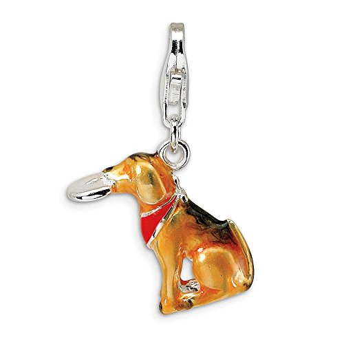 Mia Diamonds 925 Sterling Silver with Rhodium-Plated 3-D Enamel Light Brown Dog and Toy with Lobster Clasp - 3d Charm Enamel Dog