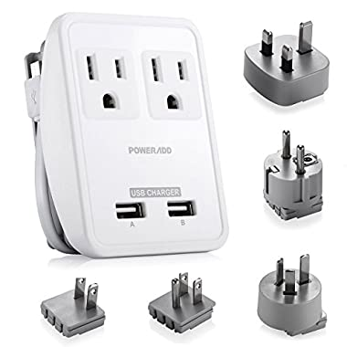 [UL Listed] Poweradd World International Travel Adapter Kits - Dual Smart USB Ports + 2 AC Outlets Wall Charger with UK/US/AU/EU/JP Adapters for Laptop, Cell Phones & Other Dual Voltage Devices