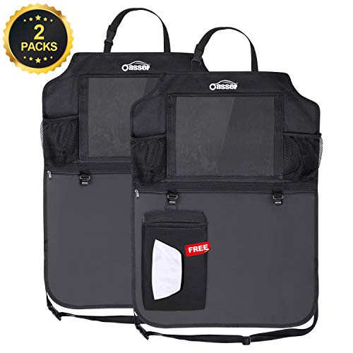 Oasser Kick Mats Car Seat Back Protectors Back of Seat Organizers 2 Pack XL with 1 Tissue Box Clear 10'' Ipad Holder 3 Large Storage Organizers by Oasser (Image #8)