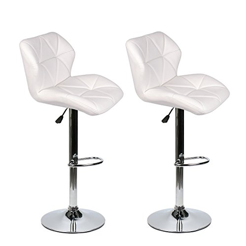 Set of 2 Bar Stools Leather Modern Hydraulic Swivel Dinning Chair Barstools, White