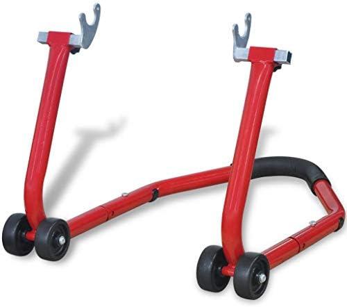 vidaXL Cavalletto posteriore per moto alza moto sollevamento universale rosso