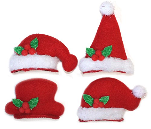 Christmas Santa Claus Hat Flashing Light Up Hair Pins - 4 pcs Set of Holiday Hairpins & Hair Clip Decorations