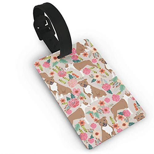 (Kuytresdf Staffordshire Terrier Florals Dogs Travel Luggage Tags Name ID Set for Bags Baggage Suitcases Thick PVC Wristband Size 2.2 X 3.7 inches)