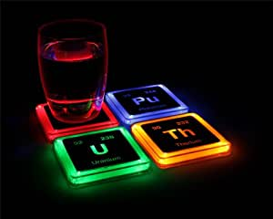 Radioactive Elements Glowing Coaster Set (Not Actually Radioactive) - LED Coasters Light Up When You Put Your Drinks On Them - Set of 4 - Plastic Party Beverage Coasters - 3 3/4in Square x 1/4in Thick - Batteries Included