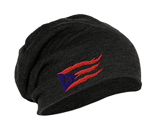 Puerto Rico Flame Flag On Black Sewed Unisex Adult Acrylic Slouch Beanie Winter Hat - Dark Grey, One Size