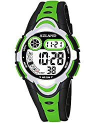 AZLAND Multiple Alarms Waterproof Kids Watches Boys Girls Digital Sports Teenagers Wristwatch (3 Alarms, for Age 4-12, Green)