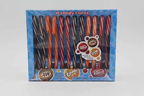 ush and A&W Flavored Christmas Candy Cane, Pack of 12, 5.3 oz ()