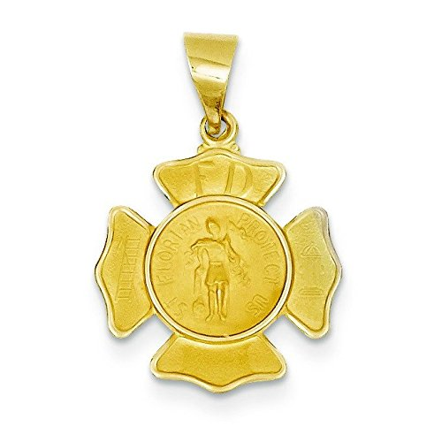 Or 14carats poli et satiné Badge Saint Florian Médaille Pendentif