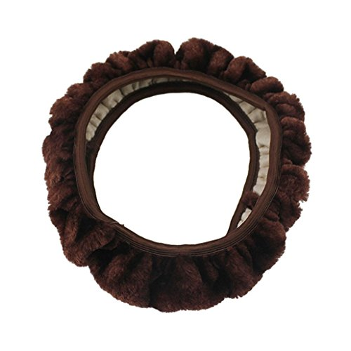 Cushion Solid Rubber Wheel (Elevin(TM)1Pc Universal Winter Warm Stretching Soft Wool Plush Fuzzy Classic Auto Car Steering Wheel Cover Protector (Brown))