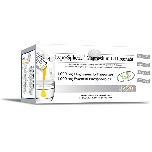 Lypo-Spheric Magnesium L-Threonate, 0.2 fl oz. - 30 Packets | 1,000 mg Per Packet | Liposome Encapsulated for Maximum Bioavailability | Professionally Formulated and 100% Non-GMO