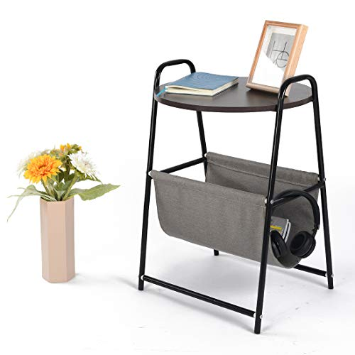 Qwork Small Round End Table/Side Table/Nightstand/Coffee Table with Fabric Storage for Books, Toys, Pet Bed, Modern Collection, Small Condo/Apartment in Bedroom Livingroom, Black Willow