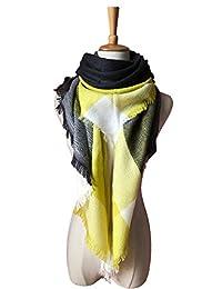 Women Winter Shawl Lattice Large Plaid Blanket Scarfs Wrap Gift for Girl (A-Yellow grey)