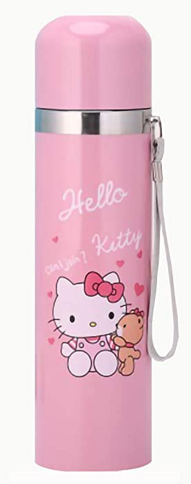 LSXX Thermos Vacuum Insulated 17 Ounce Compact Stainless Steel Beverage Bottle (500 ml, Cat Pink)
