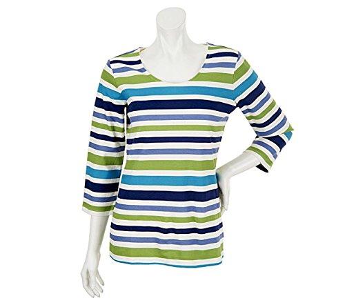 Liz Claiborne NY 3/4 Slv Striped Knit Top A240274, Blue Multi, S