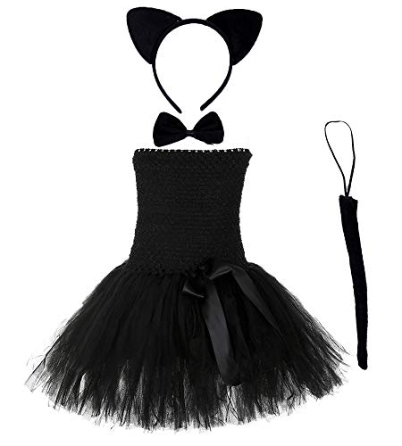 Black Catgirl Dress Up Costume Girls Birthday Perform Party Dresses Plus Size (Cat, -
