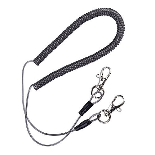 Alomejor Safety Stainless Steel Wire Fishing Lanyard, Durable Retractable Heavy Duty Lanyard With Carabiner for Mountaineering by Alomejor (Image #1)