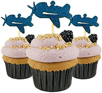Airplane Cupcake Topper card stock Color Gold 12 pc Pack Decoration airplane theme party