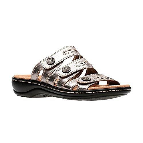 (CLARKS Womens Leisa Lakia Slide Sandal, Pewter Metallic Leather, Size)