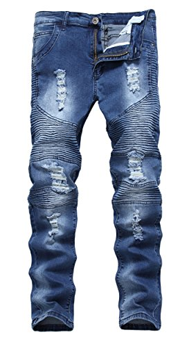 Vintage Fit Denim - Qazel Vorrlon Men's Biker Moto Vintage Skinny Fit Ripped Distressed Strecth Denim Jeans Dark Blue,Size 28