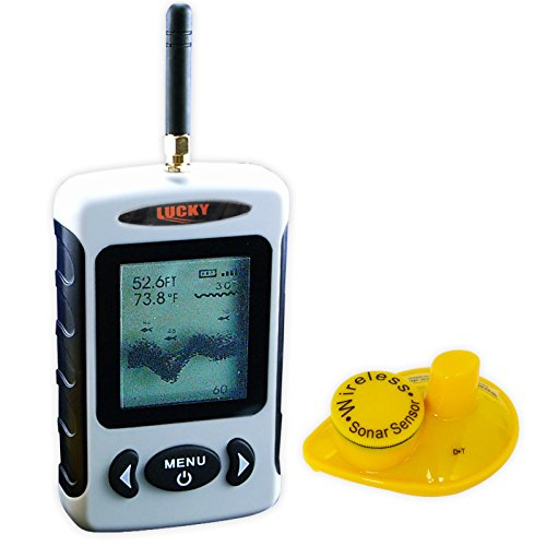 Lucky FFW-718 White Digital Fish Finder Locator 45m Depth 120m Wireless Sonar Range, Water Temp Fish Size & Location, Fishing Gear Tools for Fresh Salt Water, Sea, Lake, River, Ice ICY Water -