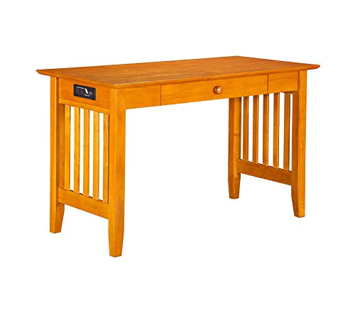 Wood & Style Office Home Furniture Premium Furniture Mission Desk with Drawer and Charging Station, Caramel Latte