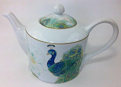 222 Fifth Lakshmi Peacock Fine China Teapot