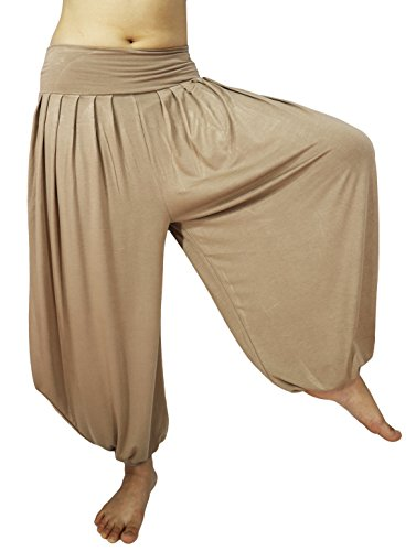 Lovely Creations Women's Drape Harem Aladdin Loose Elastic Waist Pants (JS Khaki) (Aladdin Harem)
