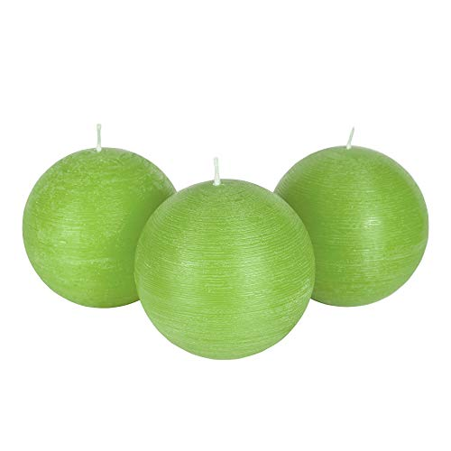 """Candle Atelier Olive Green 4"""" Handmade Round-Shaped Candles, Fragrance-Free, Set of 3"""