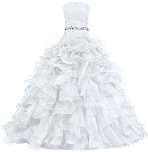 ANTS Women's Pretty Ball Gown Quinceanera Dress Ruffle Prom Dresses Size 4 US White ()