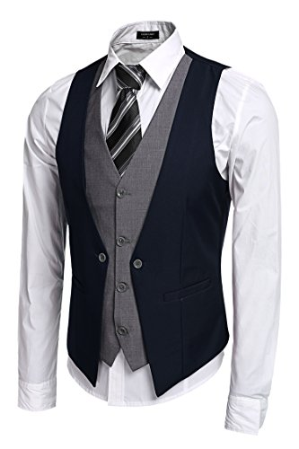 Coofandy Men's V-neck Sleeveless Slim Fit Jacket Business Suit Vests Blue X-Large from Zeagoo