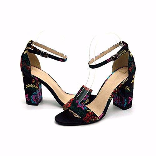 Bordado De Redonda Nacional Y Zapatos De Black Mujer Eólico Sandalias Cabeza YUCH wS8ZXX