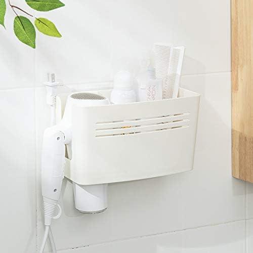 Foamworld Multi-purpose Hair Dryer Holder Seamless Hook Bathroom Supplies Accessories Hairdryer Storage Rack Stand 26x12x14CM
