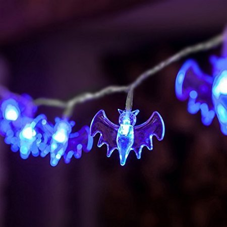 Mini-pro Waterproof 30 LED Bat Solar Outdoor String Halloween Lights Set with 20-Feet Black Wire (Blue)