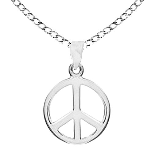 Sterling Silver Shiny Peace Sign Charm Pendant Necklace 29mm (24