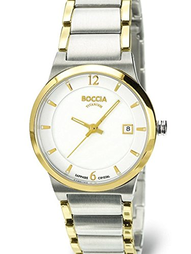 Boccia Ladies Quartz Watch with Two-Tone Titanium Case and Bracelet, Sapphire Crystal 3223-02