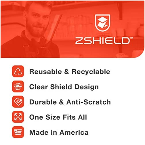 ZShield Wrap - Reusable Face Shield - Made in USA - Full Face Clear Lens & Lightweight Neck Mount Design (Ear to Ear… |
