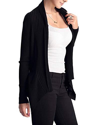 Grazioso Casuale A Confortevole Glamorous Moda Fashion Manica Lunga Semplice Colore Giacca Puro Schwarz Cappotto Eleganti Di Maglia Donna Outerwear 7nAg0