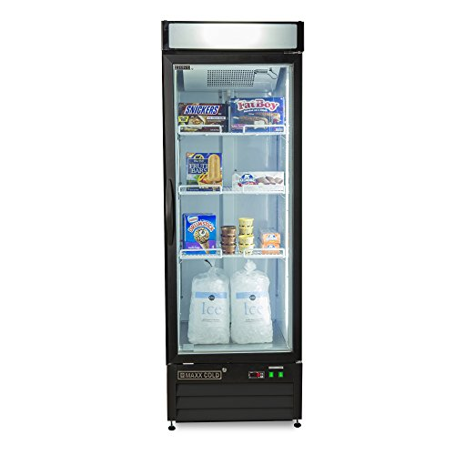 Maxx Cold MXM1-16FB One 1 Glass Door Upright NSF Commercial Glass Door Merchandiser Frost Free Freezer in BLACK - 16cf - Lighted Header