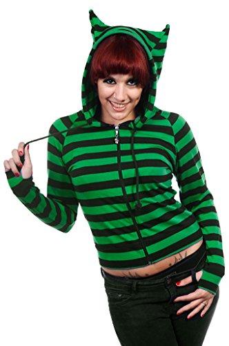 Green Black Striped Hoodie - 1
