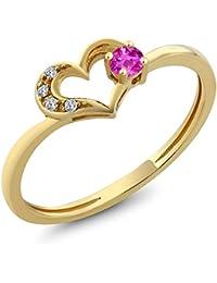 10K Yellow Gold Round Pink Sapphire Diamond Heart Shape Ring 0.1 cttw