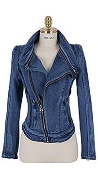 eshion Women's Stylish Punk Lapel Zipper Denim Jean Coat Jacket Slim Outerwear