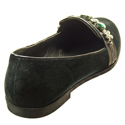 Angkorly Damen Schuhe Mokassin - Slip-On - Schmuck Blockabsatz 1.5 cm cm Grüne