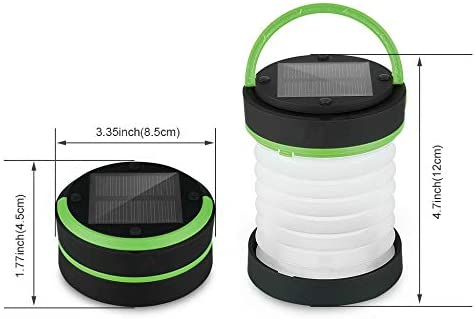 BAJIE Flashlight Solar Camping Collapsible Lantern Usb And Solar Rechargeable Light Flashlight Torch Light Water Resistant Lantern China Green